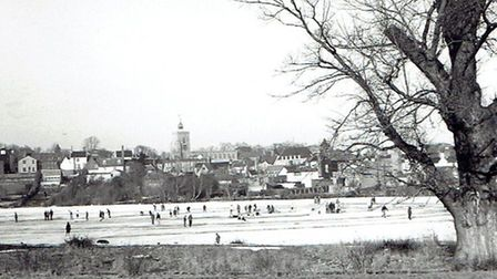 People skating on Diss Mere in the 1960s. Photo supplied.
