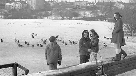 Diss mere - snow pic taken 18th feb 1969. Photo from Archant Library