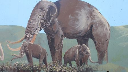 A mammoth family, featured on the West Runton elephant-inspired mural being painted on Sheringham pr