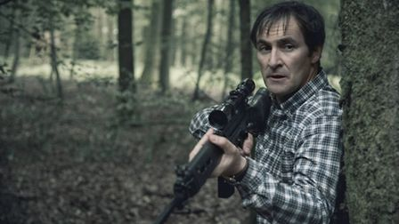 Adam Gettrick (Derek Riddell) probably isn't hunting deer with this rifle. Picture BBC/NEW PICTURES