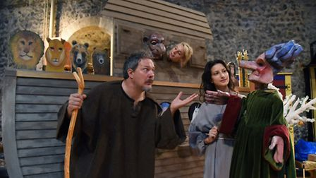 The rehearsals for the Medieval Mystery Plays at Norwich Castle. Actors Mark Hayden as Noah, with He