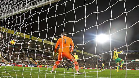 Nelson Oliveira scores his second goal against Derby County. Picture: Paul Chesterton/Focus Images