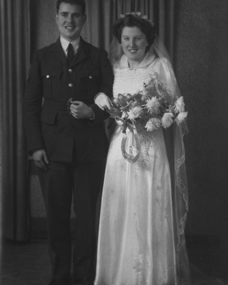 Joe and Eileen Harvey celebrating their 75th wedding anniversary. Pictured on their wedding day in 1