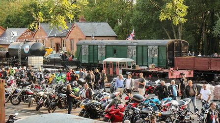 The motorcycle meet at Reepham and Whitwell Railway Museum.