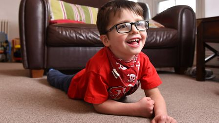 Billy Childs at home after an operation paid for by local fundraisers to help him to walk.Picture: J