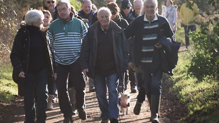 Reedham villagers walk in their campaign to reinstate part of the the Reedham village footpath. Pict