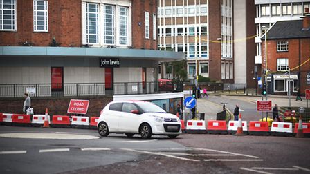 All Saints Street and All Saints Green have been closed to traffic. Picture: ANTONY KELLY