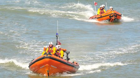 RNLI crews in action at Happisburgh Lifeboat Day. Photo: SIMON FINLAY
