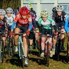 The start of the Womens race at Ipswich: Katie Scotter in Iceni Velo kit (left) and Elspeth Grace (