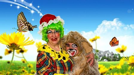 'Old Mother Hubbard' (Sue Smith) and her dog 'Woolly' (Chloe Tibbit). Picture: AYLSHAM PLAYERS