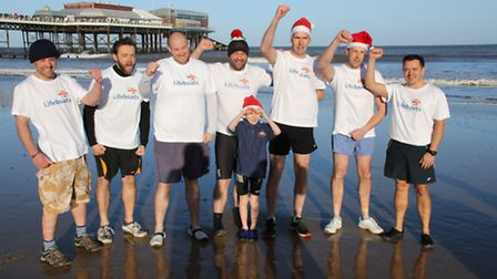 The Cromer lifeboat crew supported the Boxing Day fundraiser. Picture: ALLY McGILVRAY