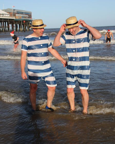 Fancy dress is also encouraged at Sheringham's New Year's Day dip. Picture: ALLY McGILVRAY
