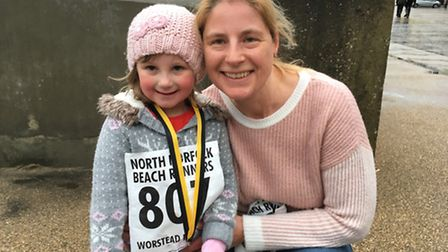 Stacey-Ann Clarke-Jenner, four, and her grandma Shelley Burton. Both completed the mile-long fun run