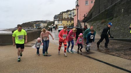 The nine Cromer Fun Run competitors at the start of the mile-long race. Picture: ALEX HURRELL