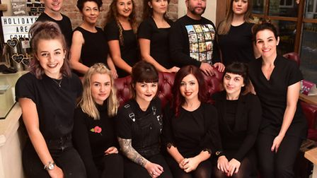 Millie Stammers with her team at Millie Rose Hair and Beauty. Picture: NICK BUTCHER.