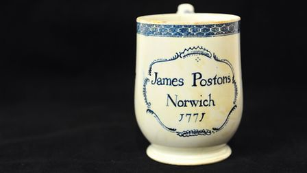 This bell-shaped mug from around 1771 is part of a collection of Lowestoft Porcelain made by Derek M