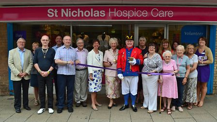 Opening of the St Nicholas Hospice Care shop in Riverside Walk, Thetford in 2014.