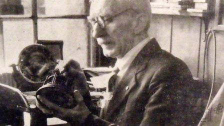 Archibald Brown in his workshop, St Mary's Street, Bungay, c. 1950.