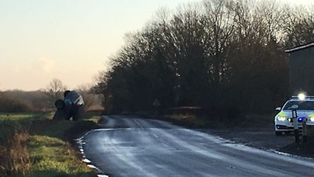 One of the cars which crashed in south Norfolk this morning. Picture Archant