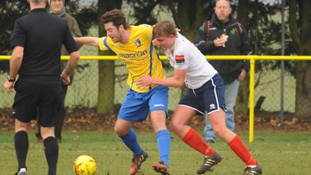 Ben Jones for Norwich United in action against Witham Town at Plantation Park. Picture: DENISE BRADL