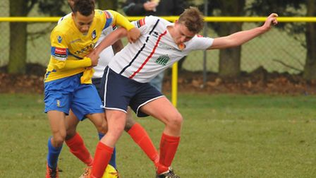 Nathan Stewart for Norwich United in action against Witham Town at Plantation Park. Picture: DENISE