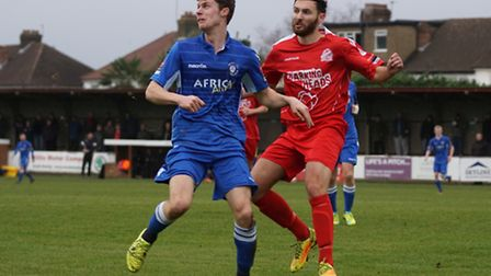 Harvey Hodd in action for Lowestoft at Harrow Borough, left, where he was on target in a 4-2 defeat.