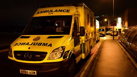 Ambulances stacking up outside A&E at the Norfolk and Norwich University Hospital on a previous nigh