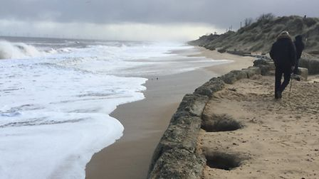 Holes that have formed in Hemsby beach. Picture: Daniel Hurd