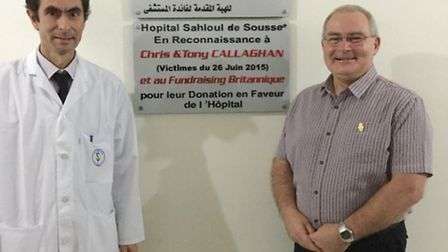 Dr Karim Bouattour, the surgeon who operated on Chris Callaghan, with her husband Tony at the Sahlou
