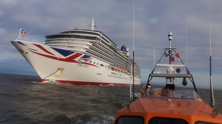 The RNLI Lowestoft Lifeboat crew make a courtesy visit to the P&O Arcadia, which dropped anchor off