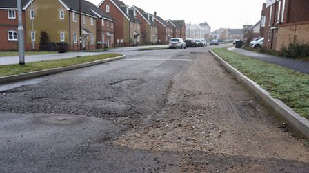 Unfinished roads in Poethlyn Drive on the Queen's Hills estate, which should be completed once all t