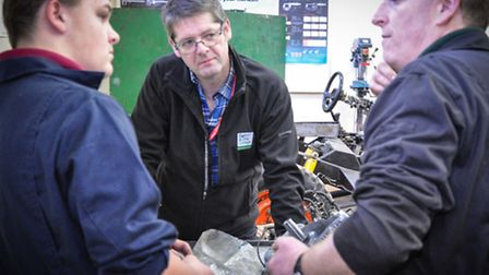 David Henley, principal of Easton and Otley College, with students.