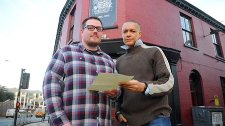 Norwich South M.P Clive Lewis giving Owl Sanctuary manager Dan Hawcroft his support to try and preve