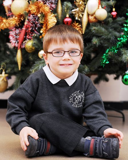 Blake Barley (4) at Toftwood Infant School, 12 months after his operation to help him walk. Picture: