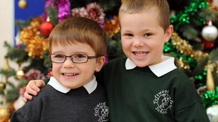 Blake Barley (4) with his best friend Charlie King (4) at Toftwood Infant School, 12 months after hi