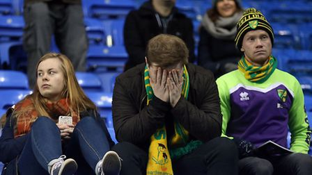 The traveling Norwich fans look dejected at the end of the Sky Bet Championship match at the Madejsk