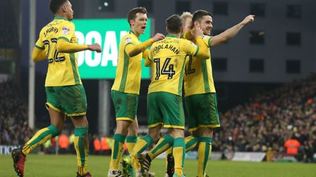 Robbie Brady of Norwich celebrates scoring his sides 2nd goal from the penalty spot during the Sky B