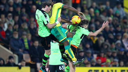Cameron Jerome goes airborne against Wolves. Picture by Paul Chesterton/Focus Images Ltd
