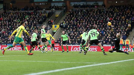 Jonny Howson tests Carl Ikeme. Picture by Paul Chesterton/Focus Images Ltd