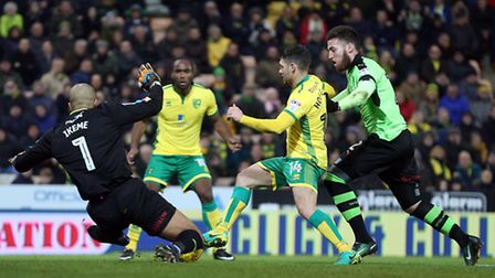 Wes Hoolahan went down under Carl Ikeme's challenge. Picture by Paul Chesterton/Focus Images Ltd