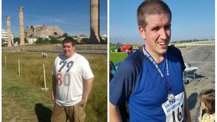 Photos of James Bishop, who has been named Earlham Slimming World's Man of the Year for 2016 after l
