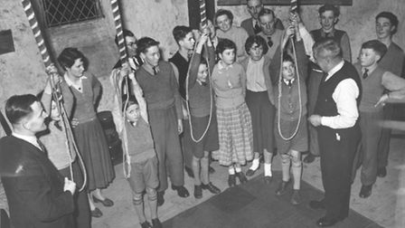 People Bellringers at St. Giles' Church in Norwich in 1957. Picture Archant Library.
