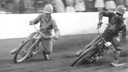 Picture shows Ove Fundin and Geoff Pymar riding at Norwich in 1957. For EN Copy: Derek James. Pictur