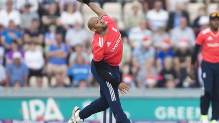 England's Tymal Mills bowls during the Natwest International T20 match at the Ageas Bowl, Southampto