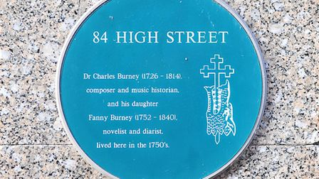 A plaque commeorating Dr Charles Burney in King's Lynn. Picture: Chris Bishop