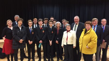 Students, teachers and politicians involved in the question and answer session at Archbishop Sancrof