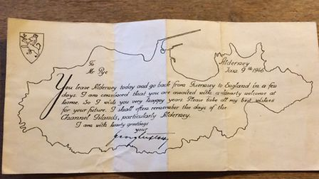 One of the letters Herbert Pye received from a German prisoner of war. Picture: Rebecca Murphy