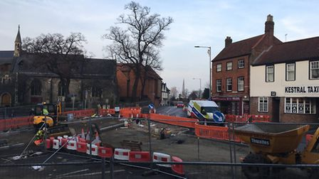 The junction of Golden Ball Street / Ber Street and Timber Hill, which is to shut for seven nights.