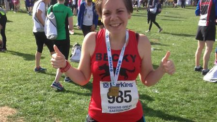 Rebecca Wass, general manager of Maddermarket Theatre in Norwich, who is running 48 miles along the