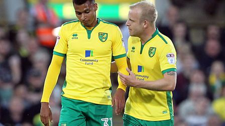 Steven Naismith has a quiet word with Josh Murphy during the game against Bristol City earlier in th